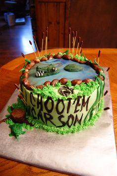 Swamp People Cake For Carson Lemon cake with lemon buttercream icing, fondant decorations. Alligator Birthday Parties, Camo Birthday, Birthday Cakes, Birthday Boys, Birthday Ideas, Cute Cupcakes, Cupcake Cookies, Alligator Cake, Lemon Buttercream Icing