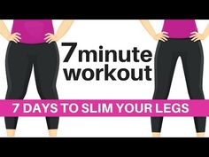 7 Day Challenge – 7 Minute Workout To Slim Your Legs – Video - Healthy Fit Clubs 7 Day Workout, Hotel Workout, Lazy Girl Workout, Leg Workout At Home, Hip Workout, Workout Videos, At Home Workouts, Seven Minute Workout, 7 Minute Workout Challenge