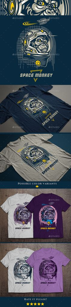 Space Monkey T-shirt Illustration #design Download: http://graphicriver.net/item/space-monkey-tshirt/13702133?ref=ksioks