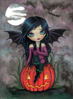 Pumpkin Pixie Big Eye Vampire with Jack-o-Lantern Fine Art Giclee Print by Molly Harrison 9 x 12