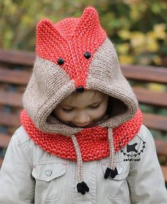 Knitting pattern for Sly Fox Hood - Knit a trendy and adorable fox hooded cowl for the whole family! Worked seamlessly in one piece with aran or bulky yarn, it knits up in no time. Sizes: S (M, L) XL to fit Baby (Toddler/Child, Teen/Adult) Large Adult