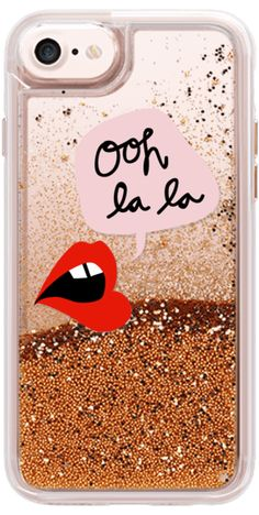 Casetify iPhone 7 Glitter Case - Oh La La Transparent Lips and Pink by MYbyDesigns #Casetify