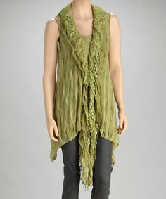 Take a look at this Dark Green Ruffle Silk-Blend Vest by Pretty Angel on #zulily today!