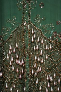 Detail of the embroidery on the 1920's Sage-Green dress