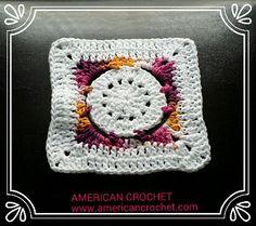 Batik Flower Granny Square, free crochet pattern by Mistie Bush.