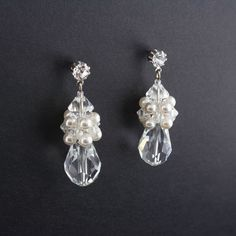 "Crystal & Pearl Cluster Earrings. 1 3/4"" long. Made with Swarovski crystal and glass pearl. Assembled in USA."