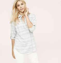 Lou & Grey Striped Wellworn Henley Shirt | Loft