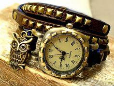 Armbanduhren - Retro Vintage Echtleder Wickeluhr Damenuhr Eule - ein Designerstück von Mont_Klamott bei DaWanda