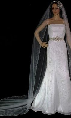 Wedding Dress Accessories - Veil White Cathedral Bellejournee cath crs $69 USD - New With Tags/ Unaltered