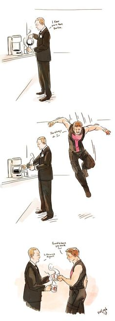 Phil Coulson and Clint Barton // Hawkeye Marvel Funny, Marvel Memes, Marvel Dc Comics, Funny Comics, Clint Barton, Barton Marvel, Hawkeye, Jeremy Renner, Doctor Who