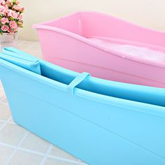 Cheap folding bath, Buy Directly from China Suppliers:A Pink Blue PP+TPE folding bath tub For Kids baby Plastic bathtub Safety material Tiny House Bathroom, Master Bathroom, Bathtub Inserts, Plastic Bathtub, Portable Bathtub, Luxury Bathtub, Large Tub, Iron Art, Modern Desk