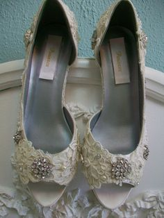 Lace Wedding Shoes Vintage Antique Lace Pearls Kitten Heels Bride Bridesmaid Ivory Swarovski Crystal Bridal. $310.00, via Etsy.