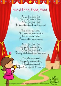 Paroles_Ainsi-Schriftart, Schriftart, Schriftart, les petites marionnettes Plus, French Poems, French Nursery, Teaching French, Kids Songs, Learn French, I School, French Language, Nursery Rhymes, Kids And Parenting