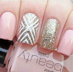 Light pink. Geometric accent nail. Glitter. Nail art.