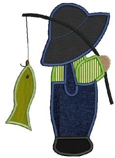 Overall Bill fishing machine embroidery Applique design,4 sizes,8 formats(dst,exp,jef,hus,pes,vip,vp3,xxx),instant download,1 zip w/PDF