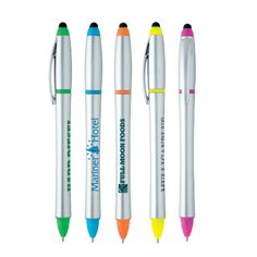 Stylus Highlighter-Pen Combo 55727 - Good value. Multi-function writing instrument with built in soft touch stylus. Twist-action highlighter-pen combo with black ink and medium point. #propelpromo