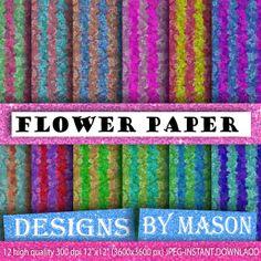"Flower Striped Background Paper, Bright Digital Paper, 12 ""FLOWER PAPER STRIPE"" , Flower Paper Stripe, Digital Paper, Printable Paper"