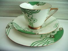 "ICONIC ART DECO ROYAL DOULTON ""GLAMIS"" TRIO - CUP, SAUCER AND PLATE c1930s 