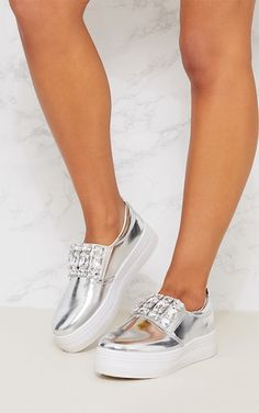 Silver Jewel Embellished Flatform SneakersThese flatform sneakers are sure to elevate any outfit....