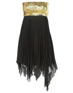 Asymmetric Hem Black Chiffon Gold Sequined  Bandeau Dress #ChiaraFashion