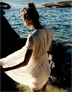 pretty lace dress by the ocean