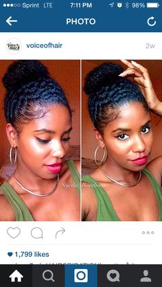 [ Naturel Hair Care : Wash & Go bun. She sprayed her hair with a mix of water & conditioner. Then used Eco styler gel for her edges Natural Hair Inspiration, Natural Hair Tips, Natural Hair Journey, Natural Hair Styles, Going Natural, Beautiful Buns, Gorgeous Hair, Naturally Beautiful, Protective Hairstyles