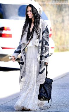 Vanessa Hudgens looking as gorgeous as ever with her own version of layered bohemian style. | Bohemian Fashion