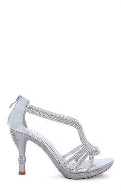 Open Toe High Heel with Small Platform and Rhinestones
