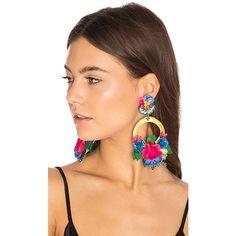 Ranjana Khan Flower Hoop Earring ($395) ❤ liked on Polyvore featuring jewelry, earrings, beaded jewelry, flower clip on earrings, leather earrings, clip on hoop earrings and dangle hoop earrings