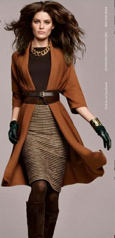 Love the sweater coat, texture of the skirt, and necklace (I have something similar from Stitch Fix)