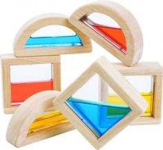 Add the element of water to your block play with these water filled blocks from Plan toys. 3 squares and 3 semi circle shapes with different coloured water inside. Children enjoy experimenting with the way the water changes shape as the blocks are turned Eco Brand, Plan Toys, Rubber Tree, Stacking Toys, Textiles, Buy Buy Baby, Circle Shape, Recycling Bins, Wood Toys