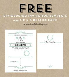 FREE Wedding Invitation Template via ahandcraftedwedding.com. #wedding #invitation #freeprintable