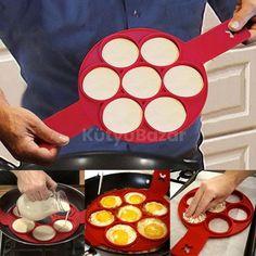 Silicone Non Stick Fantastic Egg Pancake Maker Ring Kitchen Baking Omelet Moulds Flip cooker Egg Ring Mold Pancake Maker, No Egg Pancakes, Pancakes Easy, Cooking Pancakes, Cooking Eggs, Breakfast Cooking, Vegan Pancakes, Cooking Time, Pancakes