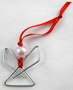 Paperclip Angel Ornament.  This easy paperclip angel ornament is so quick to make, you can make a dozen or two in an hour.