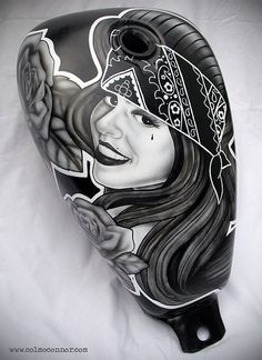 Chicano Style Airbrushed Fuel Tank by Colm O'Connor, via Flickr