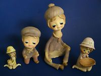 1960's Lot 4 GIRL CERAMIC FIGURES w/ BLUE EYESHADOW Groovy Twiggy Types RARE