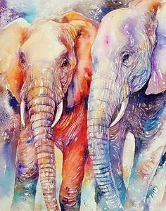 Elephant Family, Elephant Love, Elephant Art, Wildlife Paintings, Wildlife Art, Watercolor Walls, Watercolor Paintings, Abstract Paintings, Art Paintings