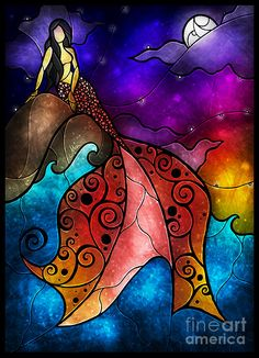 The Little Mermaid Art Print by Mandie Manzano. All prints are professionally printed, packaged, and shipped within 3 - 4 business days. Disney Stained Glass, Stained Glass Art, L'art Du Vitrail, Mermaid Fairy, Mermaid Glass, Mermaid Disney, Art Disney, Mermaids And Mermen, Ouvrages D'art
