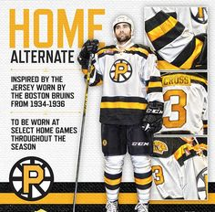Providence #Bruins (AHL) have unveiled their new alternate uniform -- based off of the '34 Bruins. Odd nameplate tho: