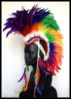 It doesn't get much better than this! MADE TO ORDER Midsize Rainbow Feather Mohawk by Miss G