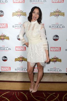 Watch Picture, Photos and Video of Chloe Bennet's Legs and Feet on GirlsWithLegs - The Internets Best Ever Database Collection of Female Celebrity Legs and Feet. Complete With Nylon Stockings, Pantyhose and High Heels. Shield Season 4, Chloe Bennett, Daisy, Jennifer Love, Agents Of Shield, Celebrity Crush, Pretty People, My Girl, Lace Skirt