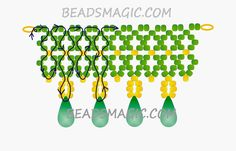 FREE Pattern for necklace EMERALD LACE | Beads Magic. Use: seed beads 11/0, crystal drops. Page 2 of 2