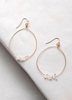 'Ice Chip' hoops, gold hoop earring,gold hoops with clear stones, delicate gold hoops, everyday hoop earring