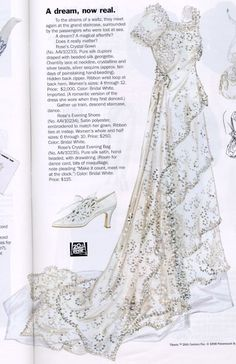 "1998 J Peterman catalog's Titanic ""Rose's crystal wedding gown"", evening shoes drawstring evening bag -- purse silk duping draped w/ hand-beaded silk georgette overdress trimmed w/ Chantilly lace (at neck), crystalline silver beads, crystal silver sequins Titanic Costume, Titanic Dress, Titanic Movie, Edwardian Fashion, Vintage Fashion, Titanic Wedding, Crystal Gown, Vintage Dresses, Vintage Outfits"