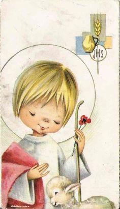Vintage Cards, Vintage Images, Image Jesus, Illustrator, Jesus Face, Holy Mary, First Holy Communion, Prayer Cards, Silent Night