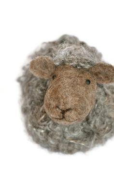 Needle Felted Sheep - Natural brown and grey wool lamb -