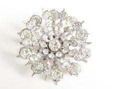 Vintage Clear Rhinestone Atomic Snowflake by GrandVintageFinery, $24.95
