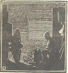 "By Herschel Logan.  ""Rainy Day ""    Block print, 1924    4 x 3.5"