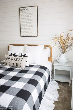 Farmhouse living was never so cozy! Drape this quilted blanket on your couch, bench, or chair for instant farmhouse style. This is a twin sized quilt, the front is a solid white & black Kona cotton, with black chambray pieced in for a patchwork gingham check look. The back is white muslin. Each item is carefully made by me in my smoke-free, pet-free home. I wash all fabrics before I sew with them, and sometimes after as well! This item is made with 100% cotton fabric, batting, trim and th...