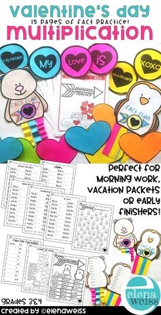 15 pages of multiplication practice. Practice multiplication with a fun Valentine's Day theme. Two fun crafts and a bulletin board idea also included. Facts Happy Valentine's Day! Math Resources, Math Activities, Classroom Resources, Multiplication Facts Practice, Elementary Math, Upper Elementary, 3rd Grade Classroom, Math Lessons, Bulletin Board